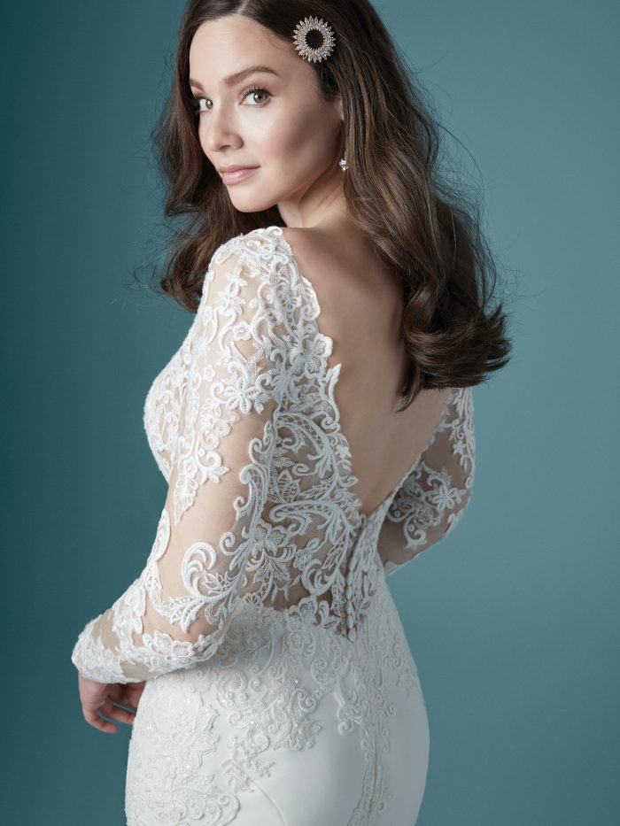 Model Wearing Ivory Sheath Bridal Gown Called Althea by Maggie Sottero