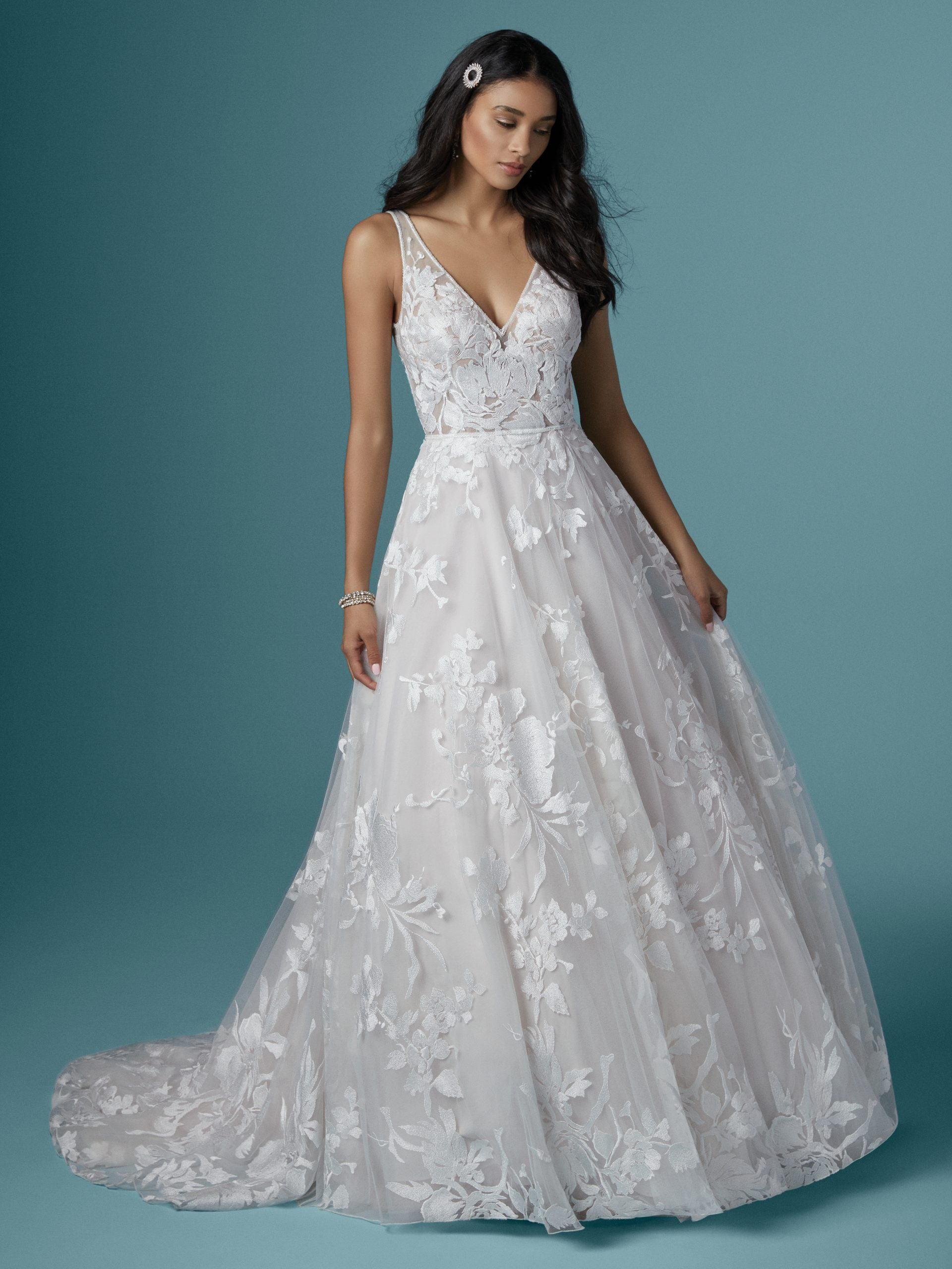 Model Wearing Lightweight A-line Wedding Dress Called Sasha by Maggie Sottero