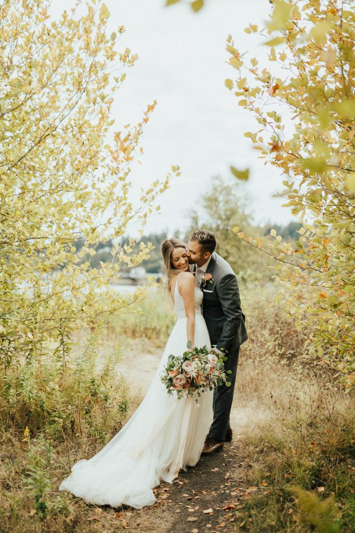 Boho Wedding Theme Medow Wedding with real Bride wearing Charlene by Maggie Sottero