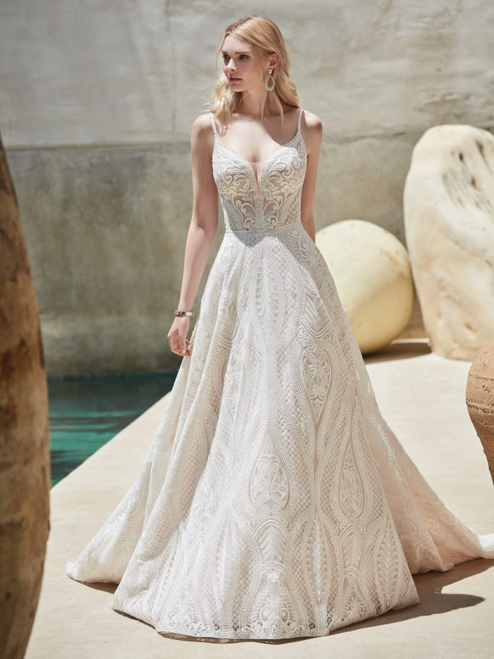 Model Wearing Nude Wedding Dress Called Roxanne by Sottero and Midgley