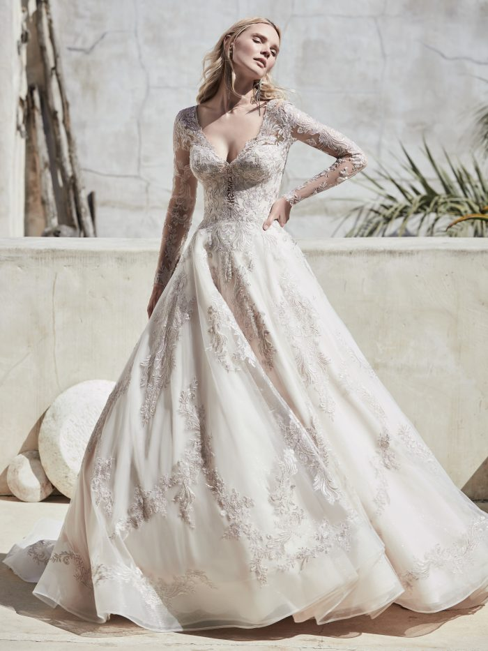 Model Wearing Colored Wedding Dress with Pewter Accents Called Vincent by Sottero and Midgley