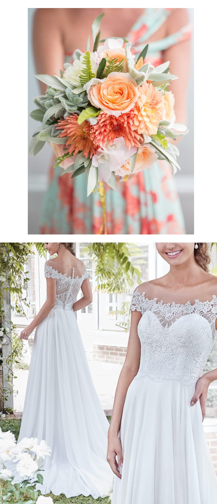 9 Bouquets For Your Boho Wedding Gown - Flirty chiffon wedding dress for boho wedding Beatrice by Rebecca Ingram. Paired with peach and coral bouquet. Photo: Amanda Thomas Photography | Bouquet/Florist: Blush