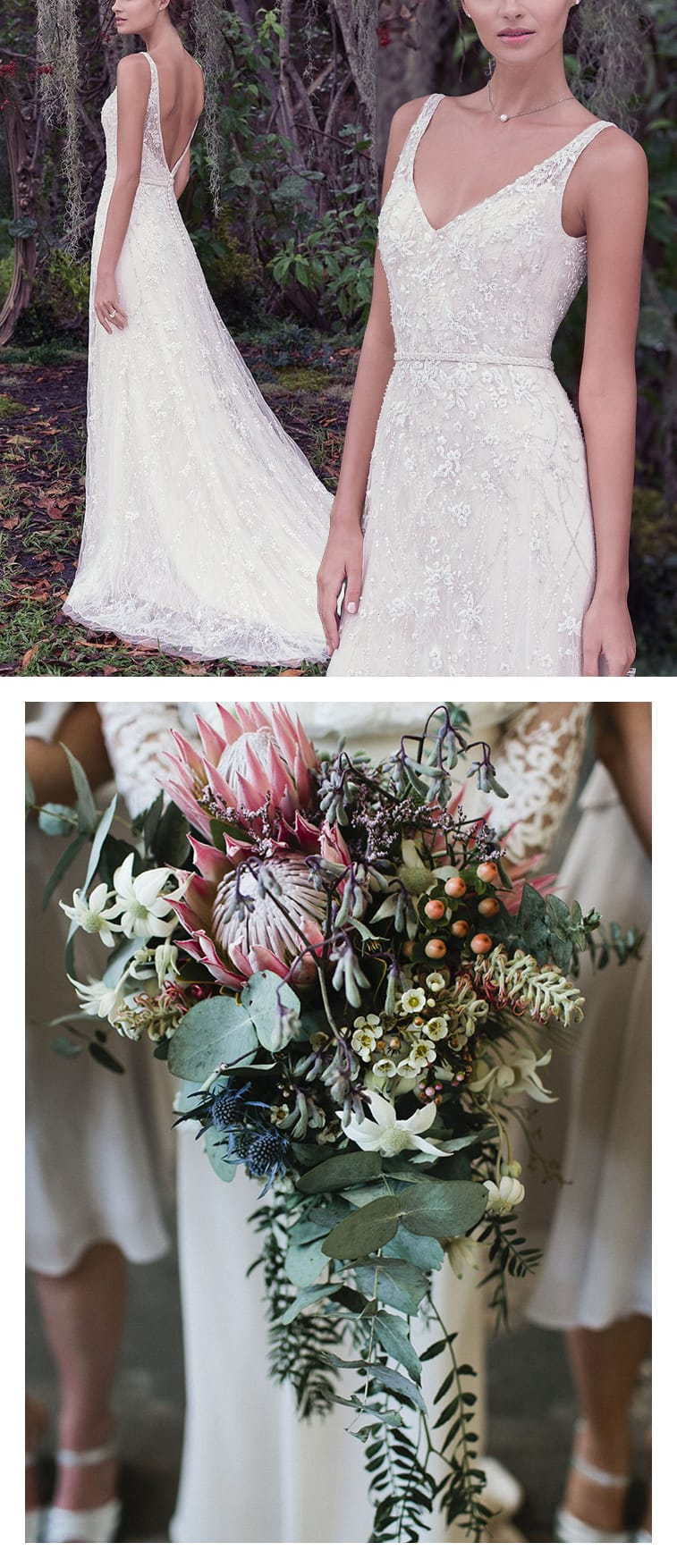 9 Boho Bouquets For Your Eclectic Wedding Gown - Lovely Jorie wedding dress by Maggie Sottero paired with a unique cascade bouquet full of succelents. Photo: It's Beautiful Here | Bouquet: Loose Leaf
