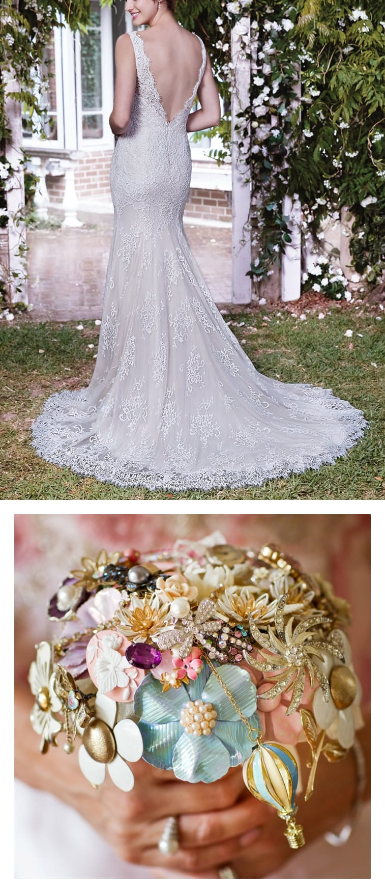 9 Bouquets For Your Boho Wedding Gown - Boho lace wedding dress with long train Lauren by Rebecca Ingram paired with a brooch bouquet.