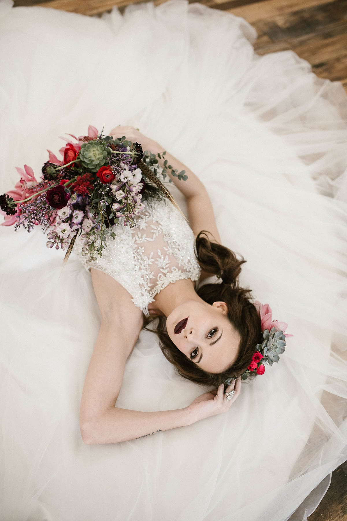 Princess Wedding Dress in Moody Styled Shoot With Jewel-toned Florals