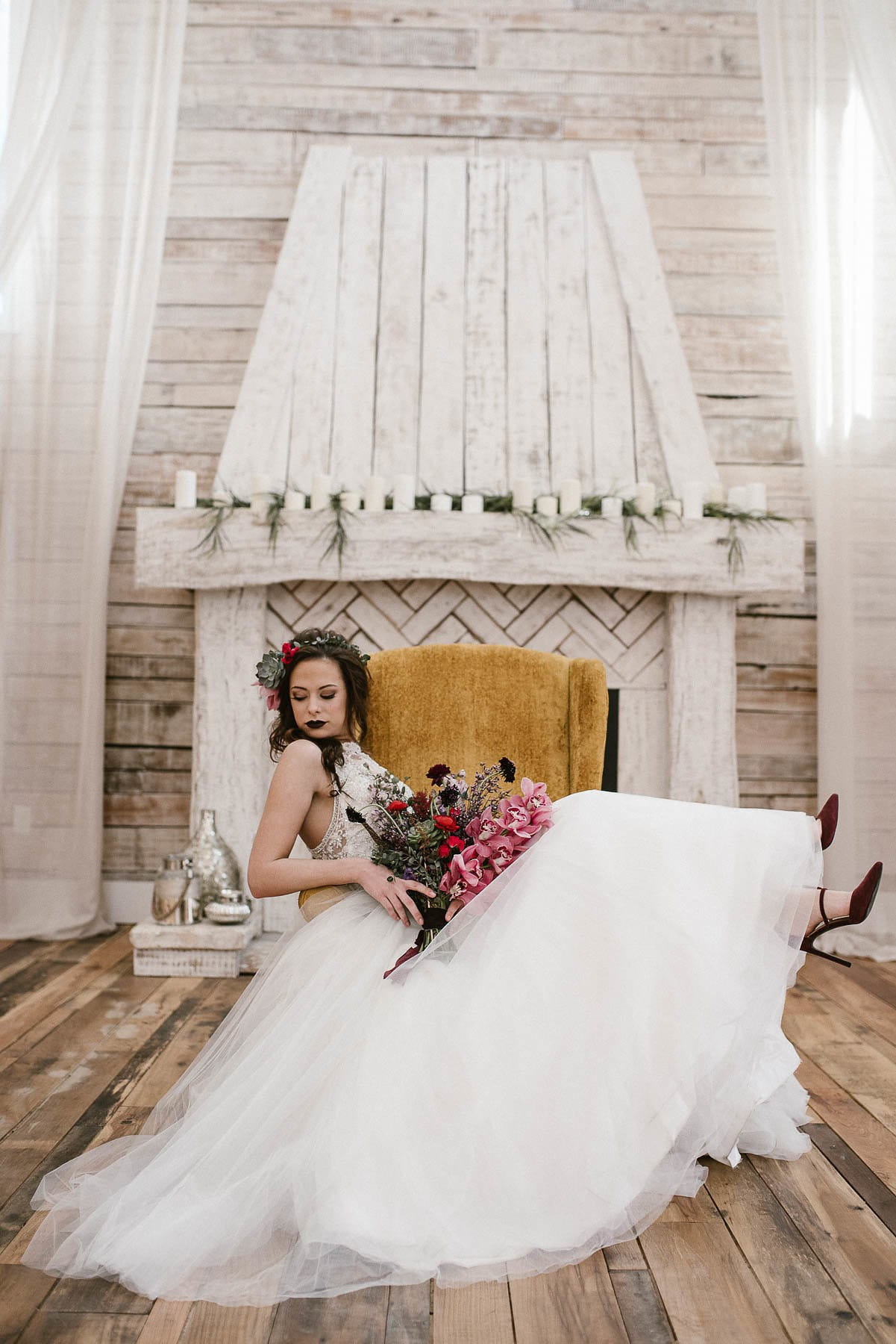 Princess Wedding Dress in Moody Styled Shoot With Jewel-toned Florals - Fall in Love with Gowns for the Romantic, Edgy, and Elegant Bride