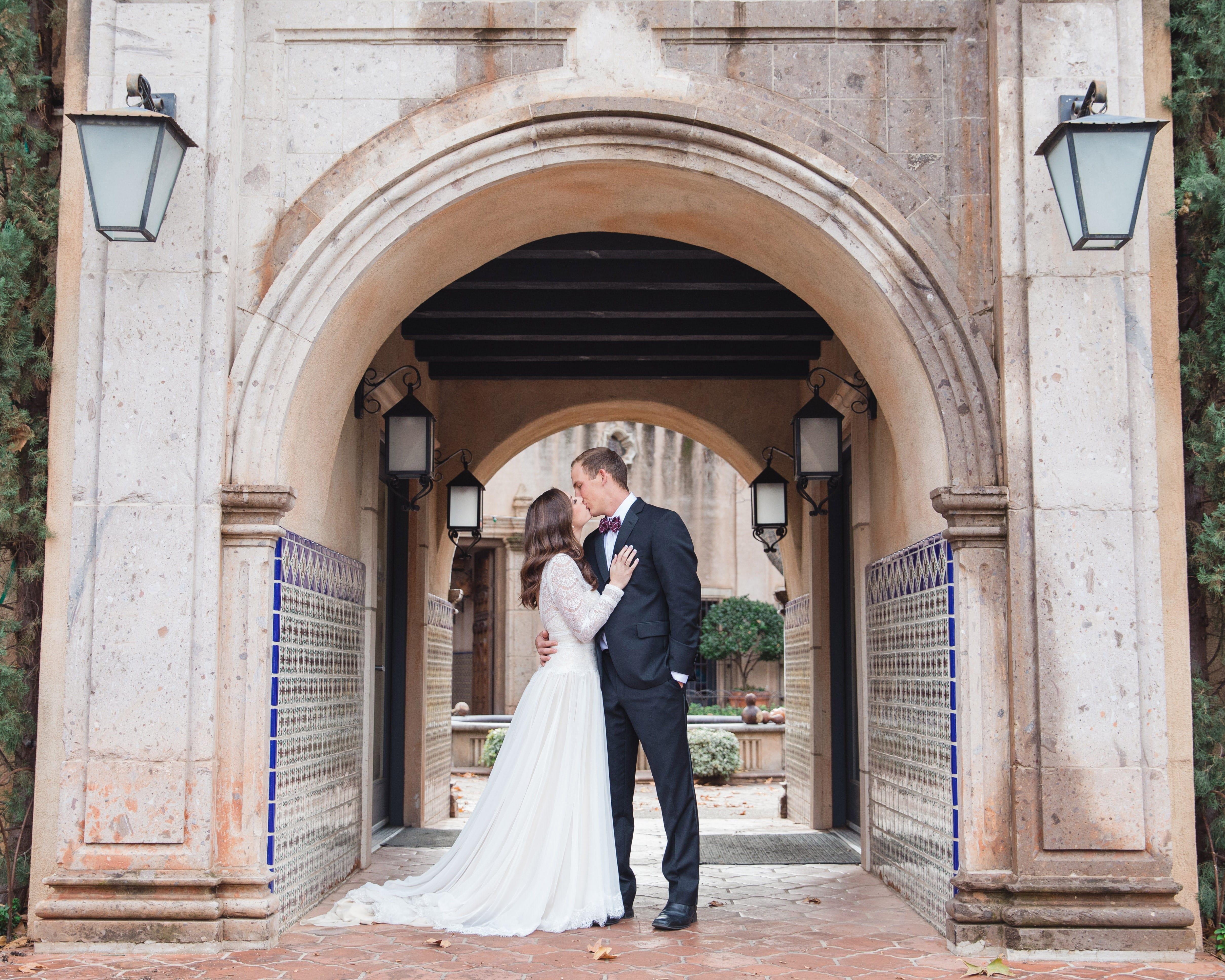Romantic Villa Wedding Featuring Sleeved Wedding Dress Deirdre