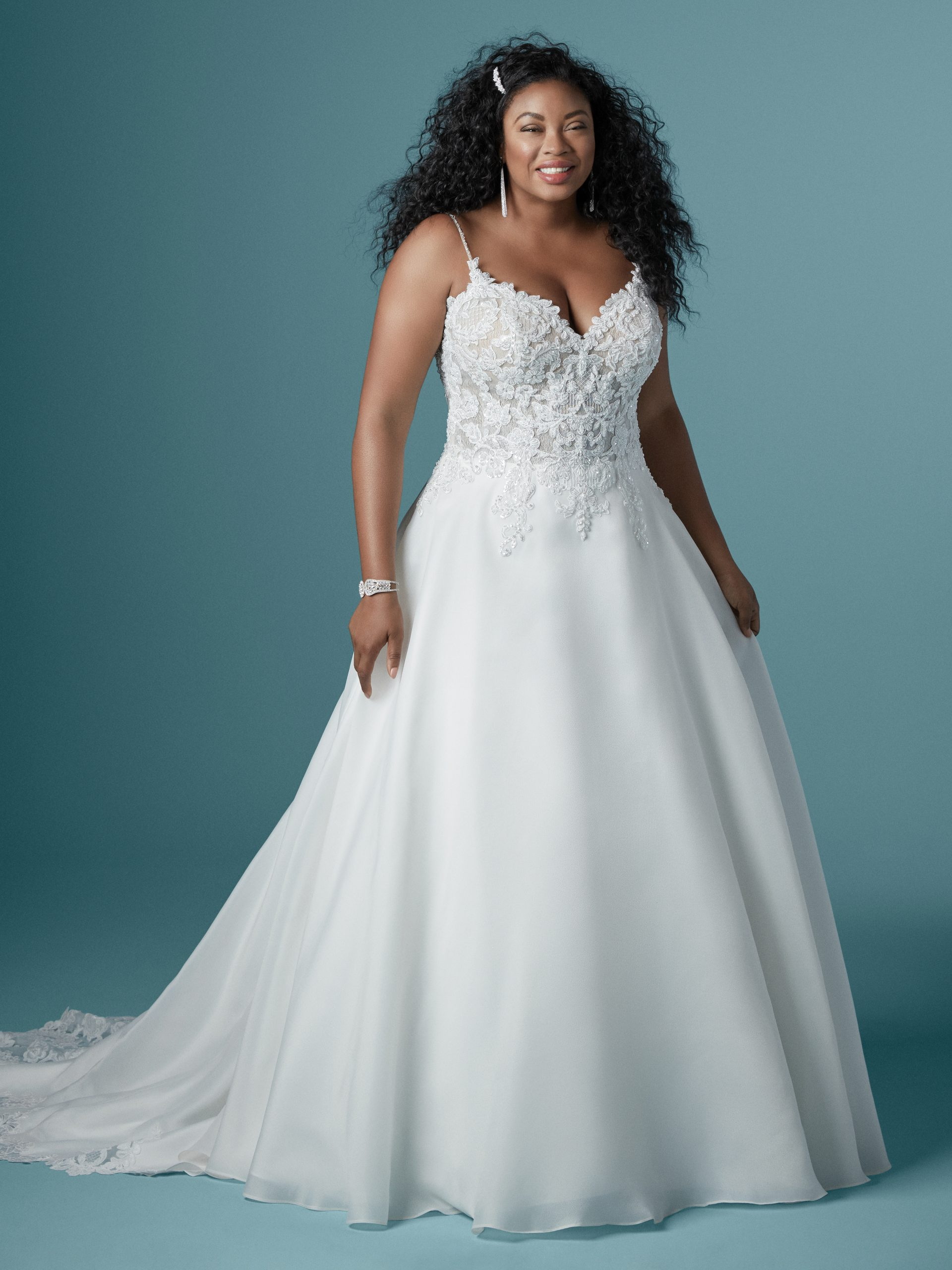 Model Wearing Plus Size A-line Wedding Dress Called Savannah by Maggie Sottero