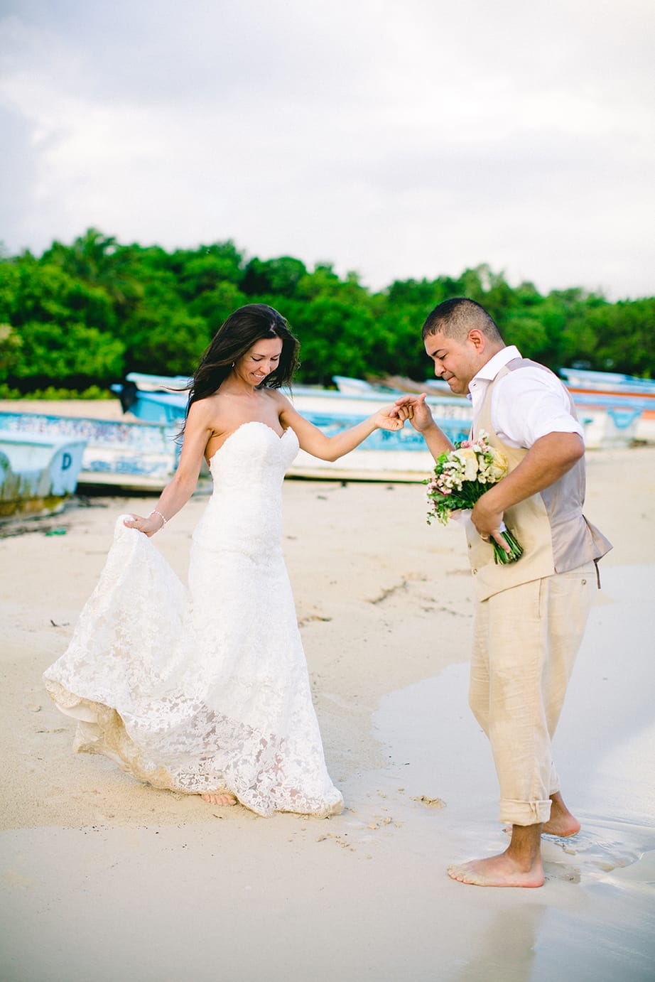 Sexy Beach Wedding and Trash the Dress Session - Maggie Bride wearing Britannia by Maggie Sottero