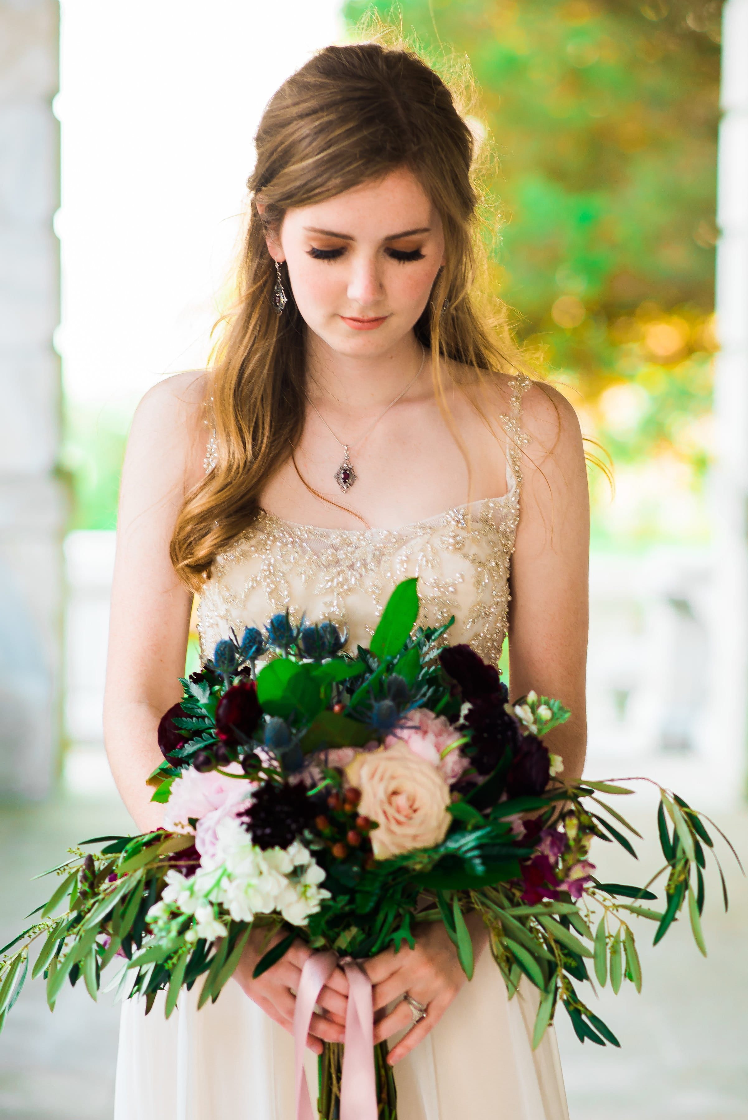 Romantic Styled Shoot with Jewel Tones and Soft Vintage-Inspired Wedding Dress