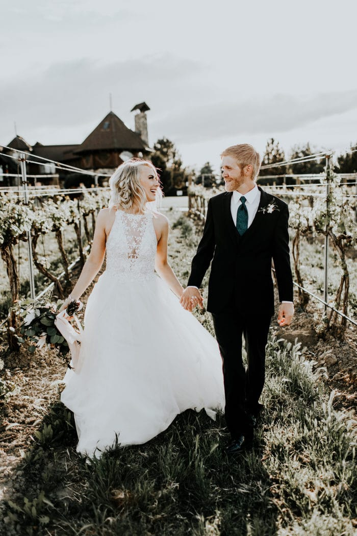 Groom with Real Bride Wearing Rustic Wedding Dress Called Lisette by Maggie Sottero
