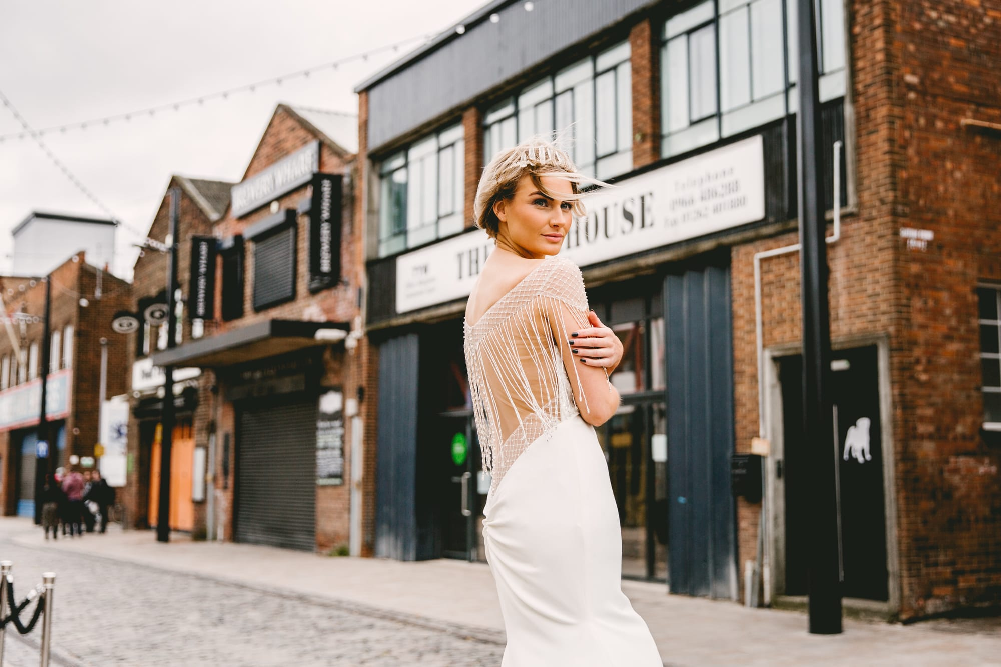 Crepe Gown With Metallic Fringe For An Updated Vintage Wedding Look. Liam by Sottero and Midgley.