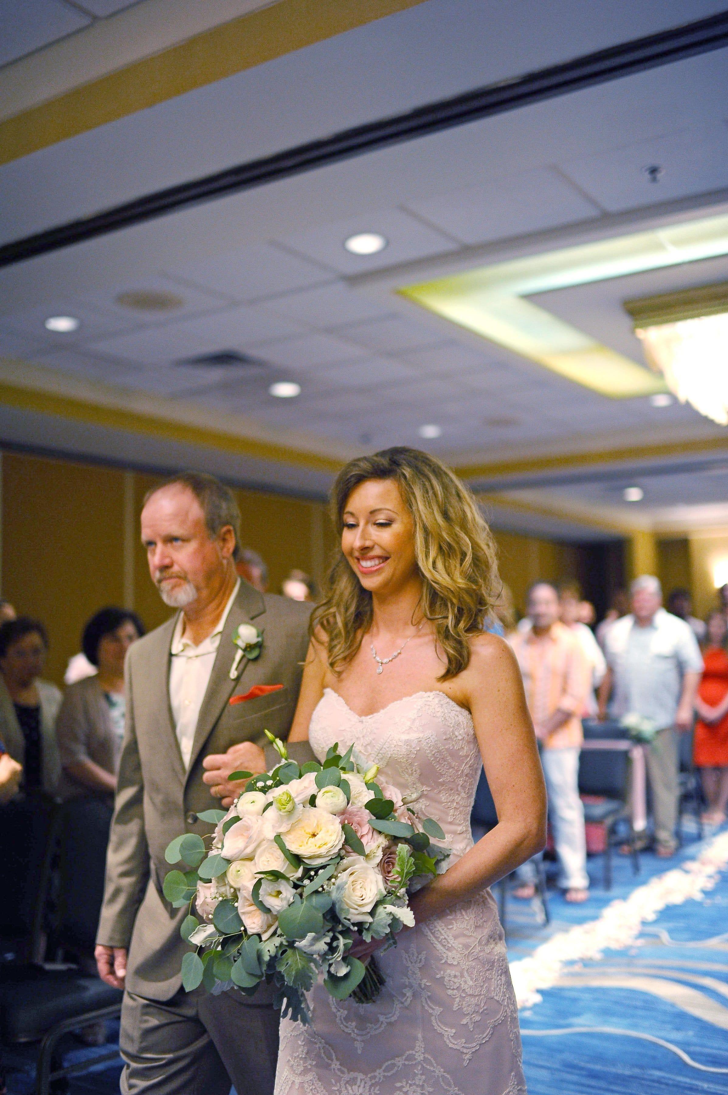 Elegant Florida Destination Wedding with Blush Gown. Maggie Bride is wearing Kirstie by Maggie Sottero.