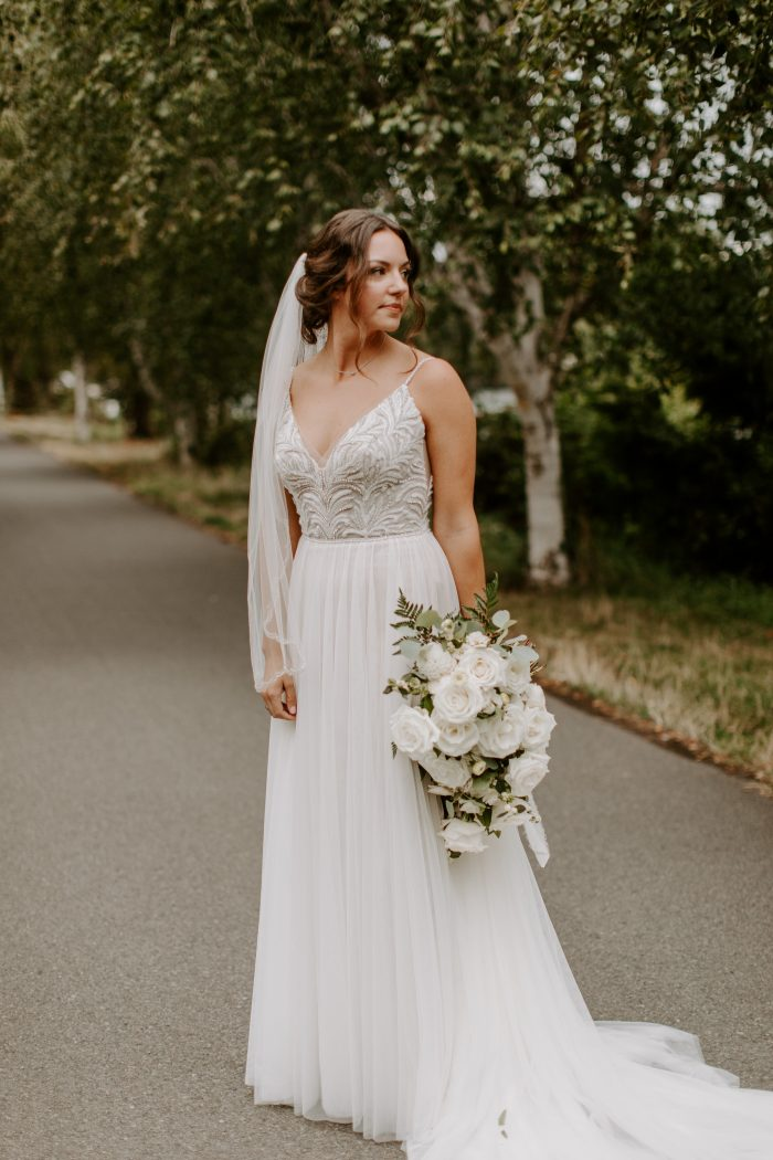 Real Bride Wearing Boho A-line Quicky Delivery Wedding Dress Called Charlene by Maggie Sottero