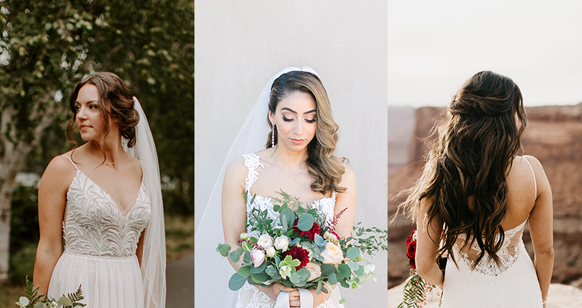 Real Brides Wearing Different Wedding Updos to Complement Their Wedding Gowns by Maggie Sottero