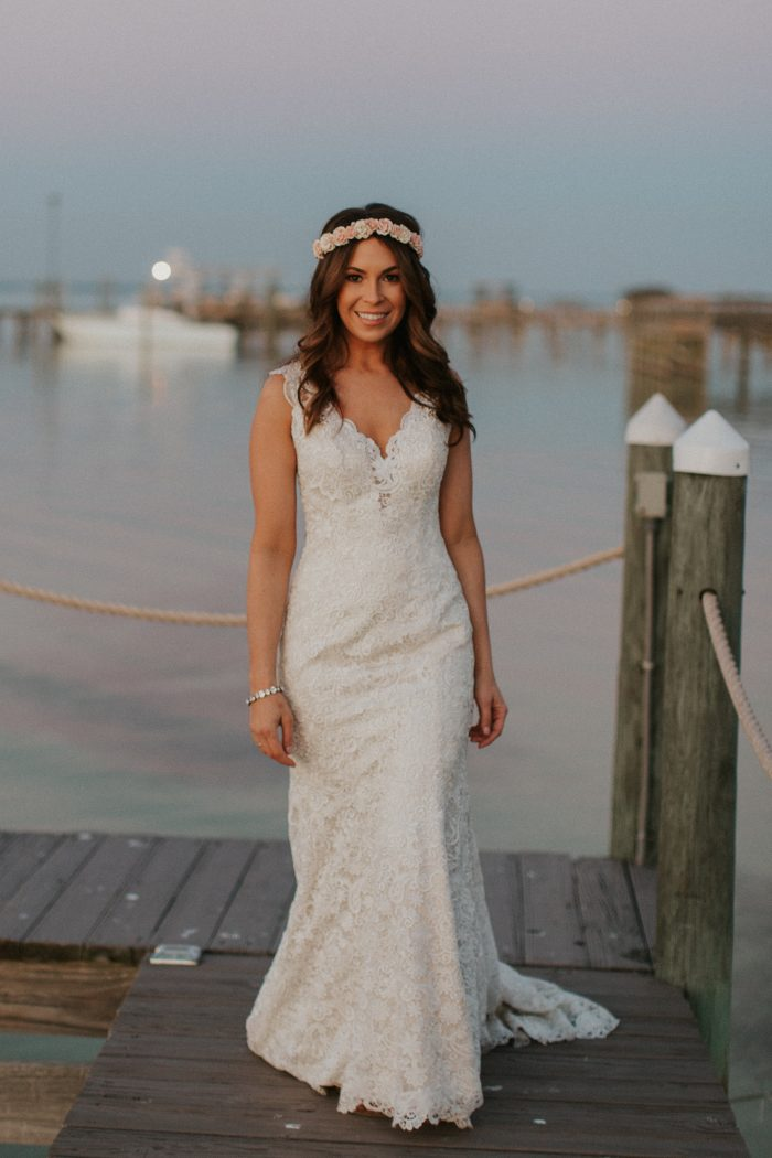 Real Bride Wearing Casual Wedding Hairstyle with Boho Crown