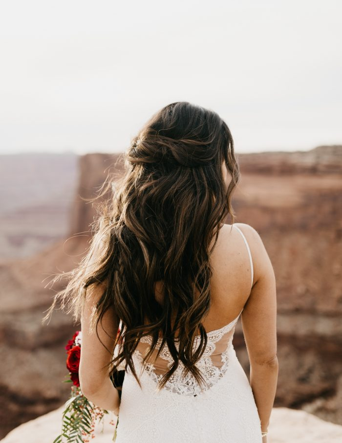 Real Bride in Moab Wearing Half Upo and Wedding Dress Called Narissa by Sottero and Midgley