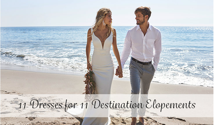Groom with Real Bride on Beach Wearing Destination Elopement Wedding Dress by Maggie Sottero