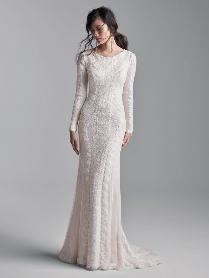 Model Wearing Lace Long Sleeve Modest Wedding Dress Called Narissa Leigh by Sottero and Midgley