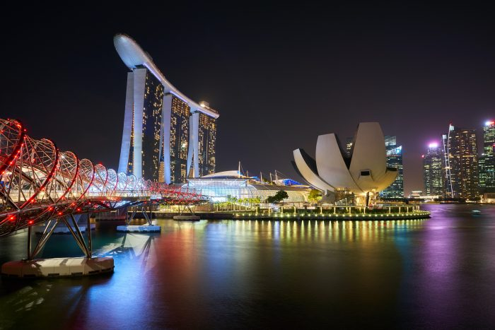 View of Marina Bay Sands at Night with City Lights and Opera House