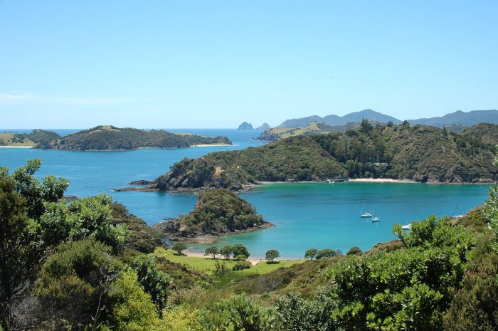 Aerial View of Crystal Blue Water and Lush Islands at Bay of Islands, New Zealand