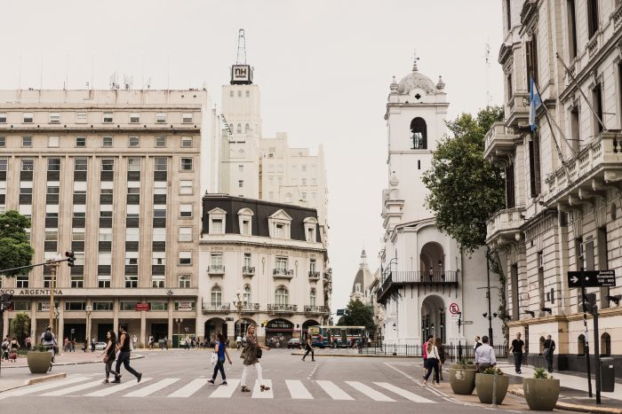 City Sidewalks of Buenos Aires Featuring Colonial Buildings