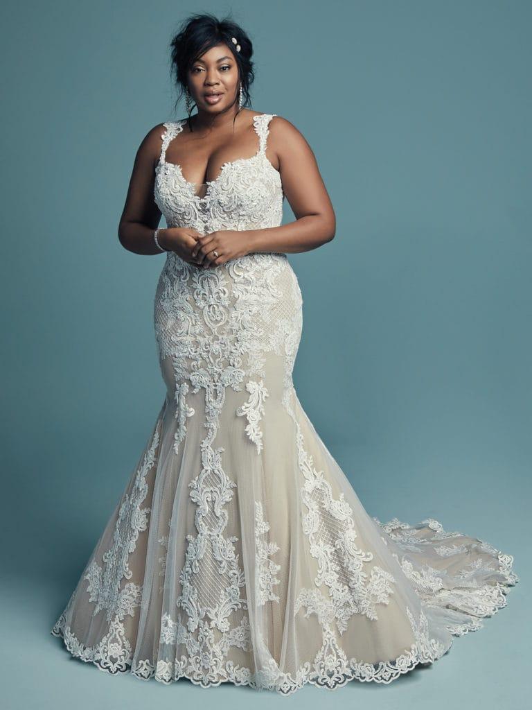 Plus Size Model Wearing Plus Size Wedding Dress Called Abbie Lynette by Maggie Sottero