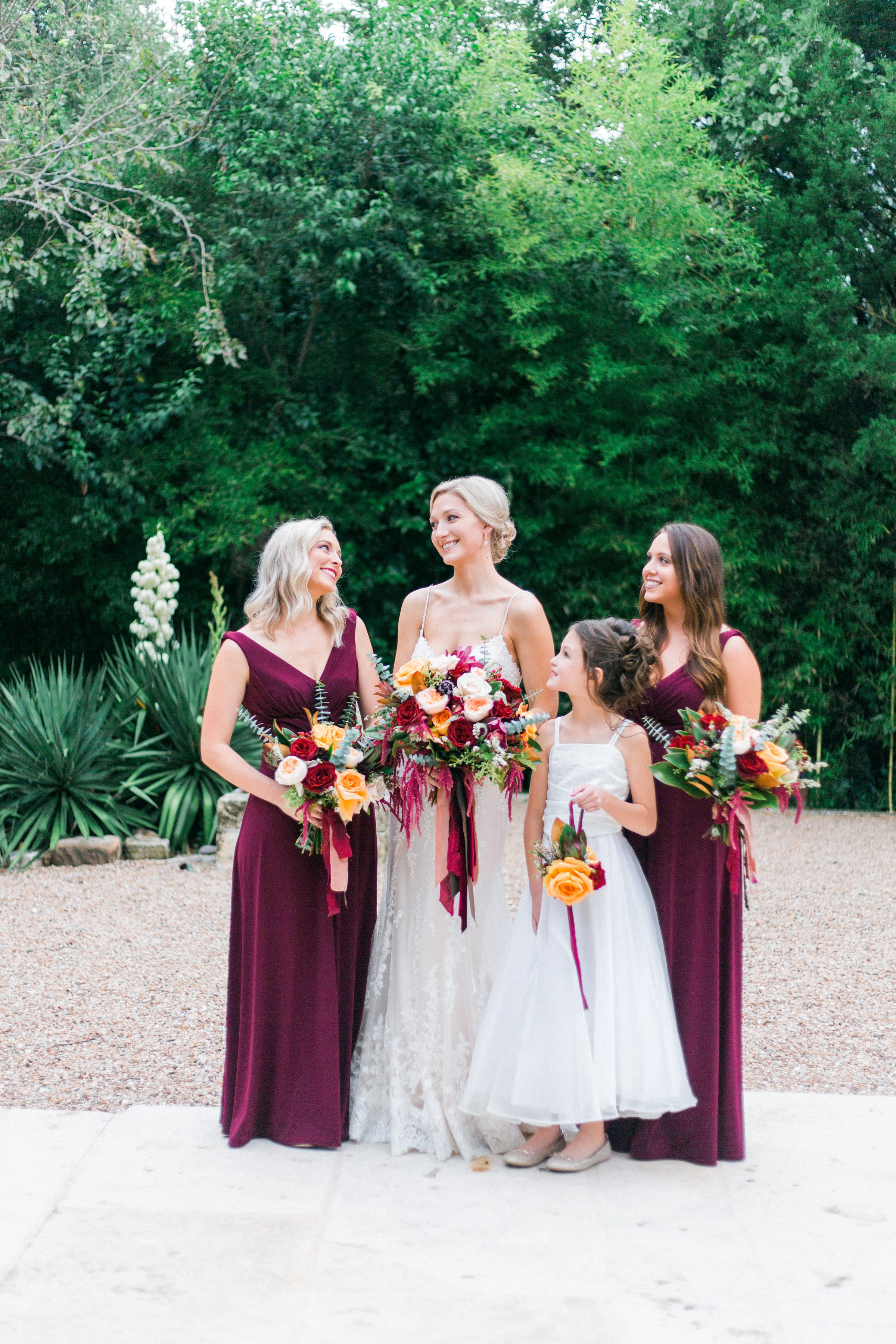 Gorgeous Outdoor Wedding Featuring Jewel Tones and Shimmery Lace Gown. Sarah wore the Nola wedding dress by Maggie Sottero.