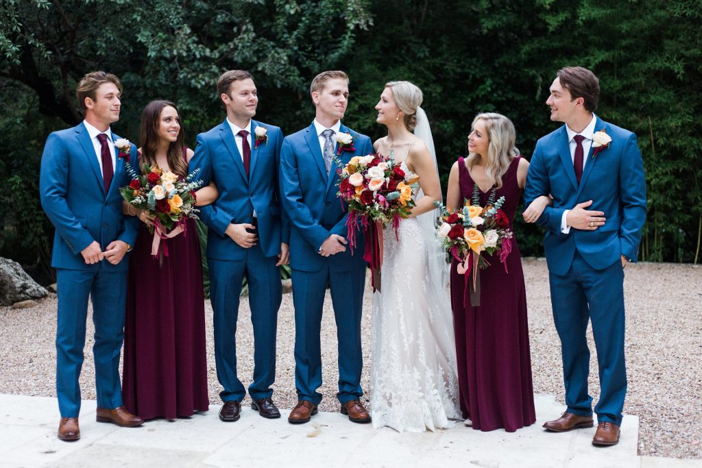 Real Bride and Groom Standing with Wedding Party