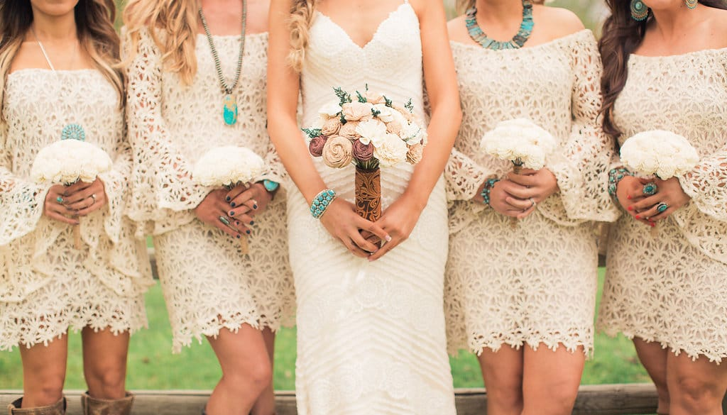 10 Accessories for the Perfect Ranch Wedding, presented by Wrangler model and ambassador Jena Knowles. Jena wore the Bexley wedding dress by Sottero and Midgley.