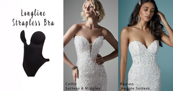 Longline Strapless Bra with Strapless Wedding Dresses by Maggie Sottero