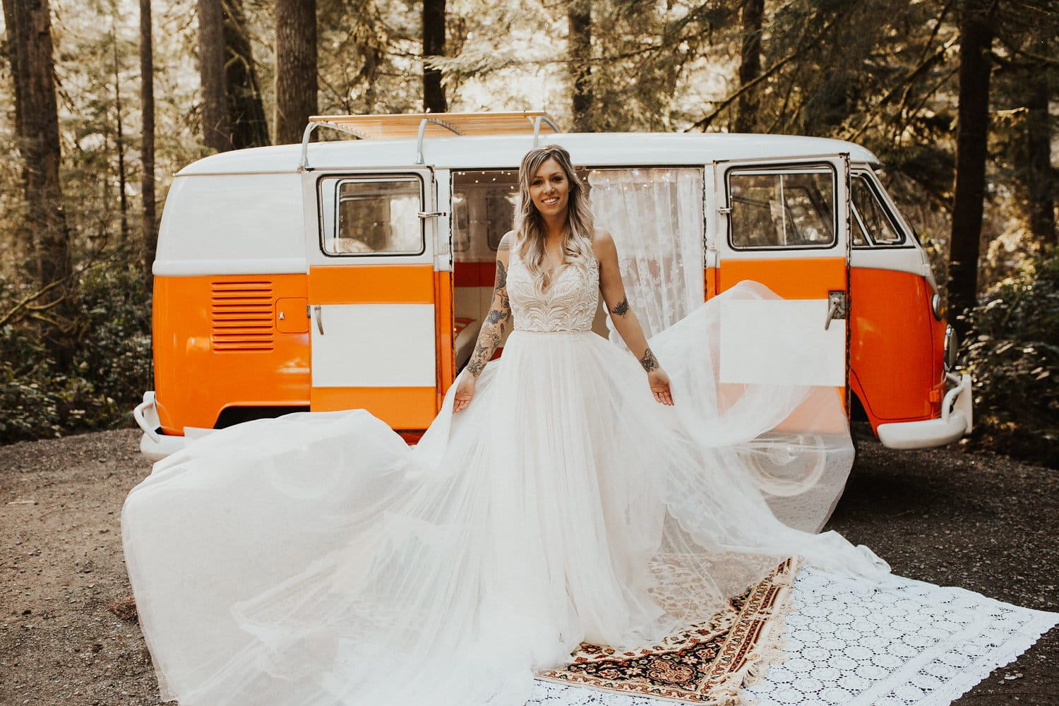Rock 'N' Roll Styled Shoot Featuring Beaded Lace Gown and Camper Van. Charlene wedding dress by Maggie Sottero.