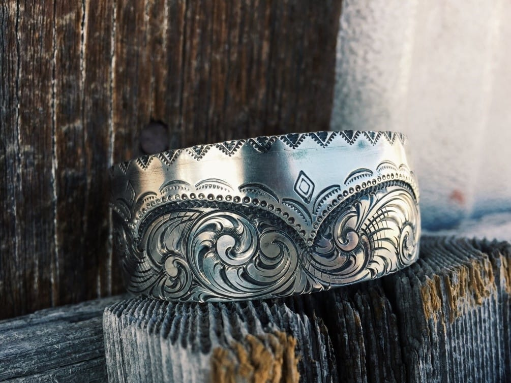 Engraved silver jewelry by Neva Dawatt. Alternative accessory for your perfect ranch wedding!
