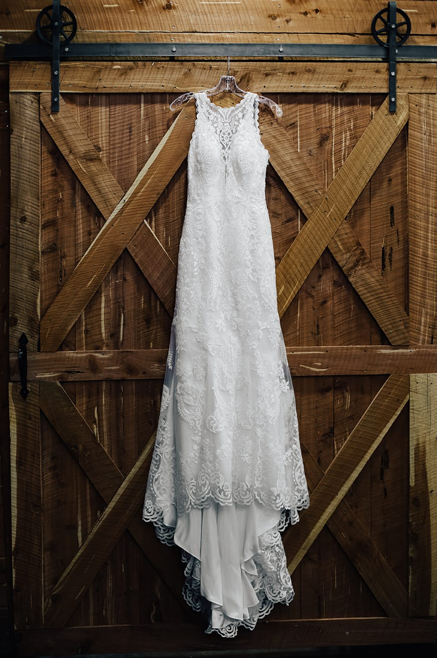 Gorgeous Lakeside Wedding With Country-Rustic Details and Lace Gown Winifred by Sottero & Midgley.