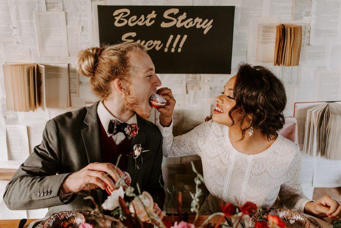 Black Bride Feeding Groom Red Velvet Cake at Romantic Elopement