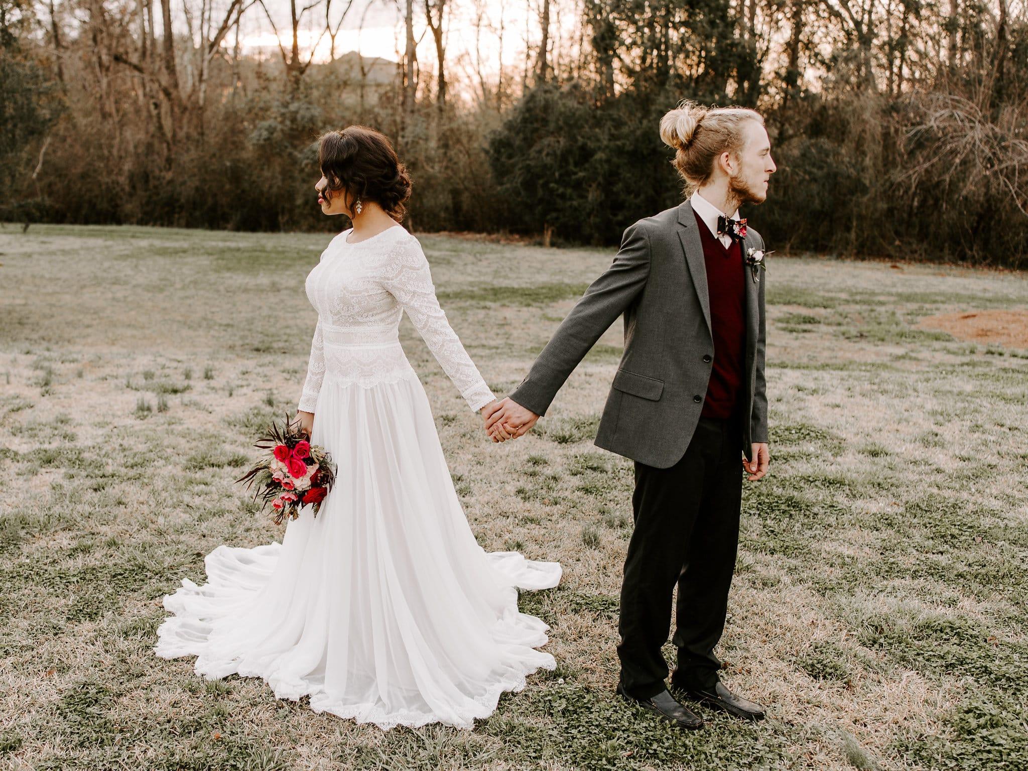 Sleeved Boho Wedding Dress in Ultra-Romantic Elopement Styled Shoot. Deirdre Marie wedding dress by Maggie Sottero.