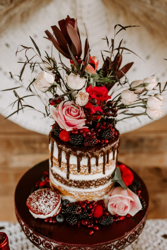 Dark Chocolate and Red Velvet Valentine's Wedding Cake