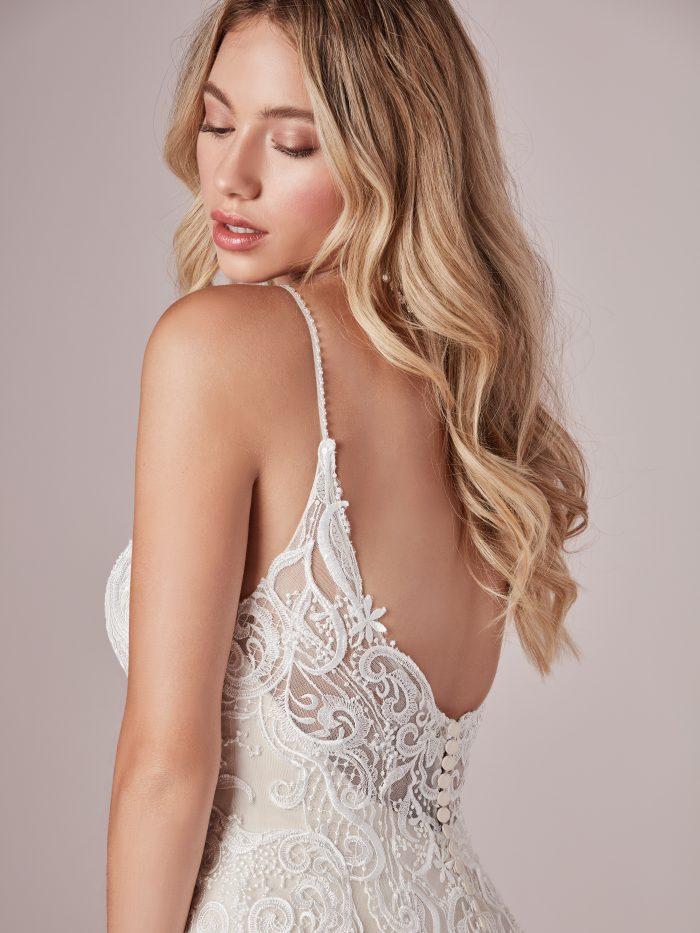 Model Wearing Boho Floral Wedding Dress Called Adelaide by Rebecca Ingram