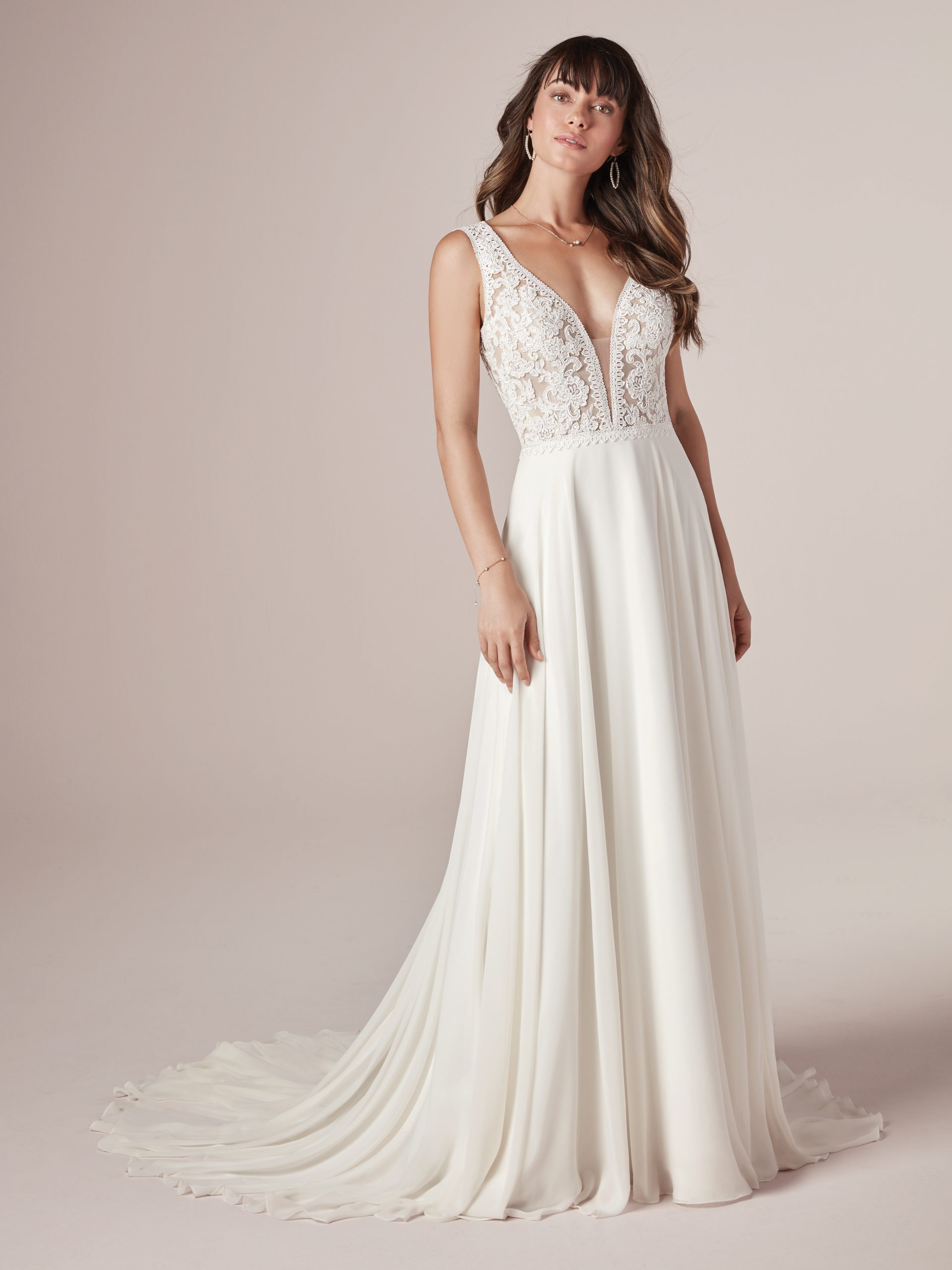 Model Wearing Country Wedding Gown with Keyhole Back Called Gabriella by Rebecca Ingram