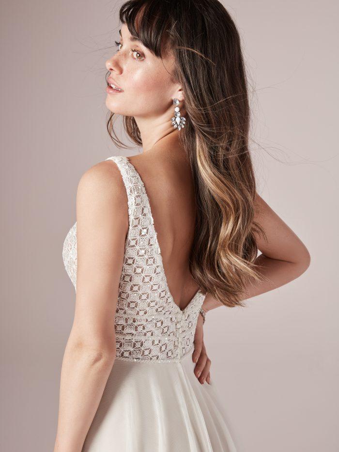 Model Wearing A-line Wedding Dress