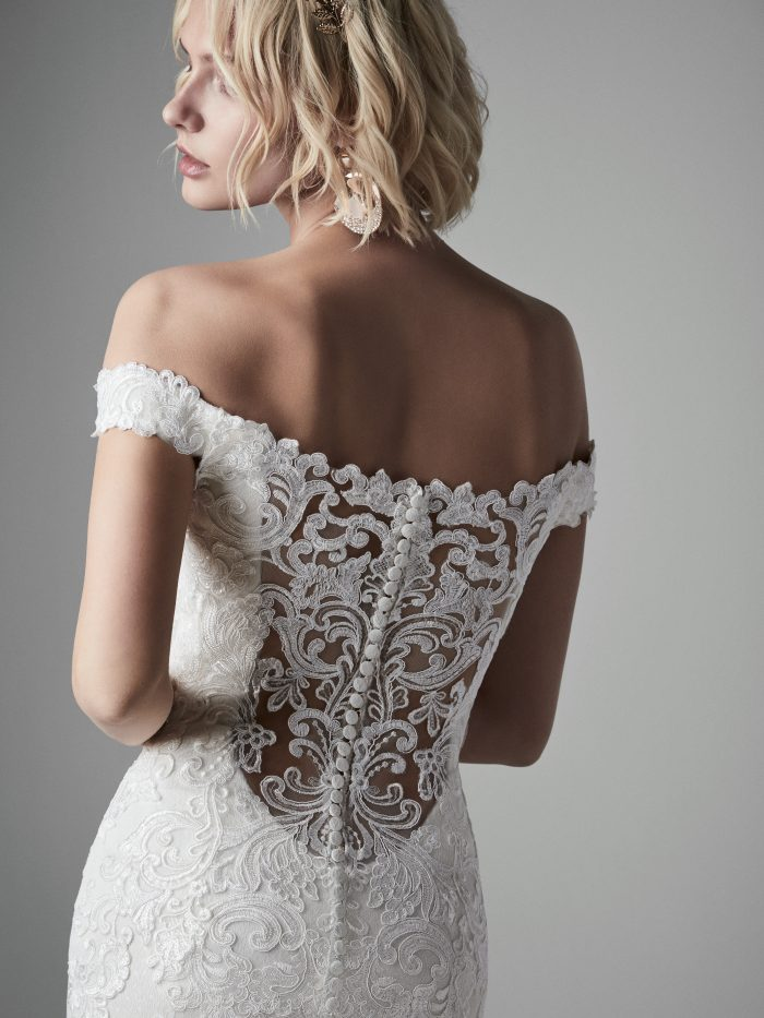 Model Wearing Off-the-Shoulder Pearl Wedding Dress Called Kennedy by Sottero and Midgley