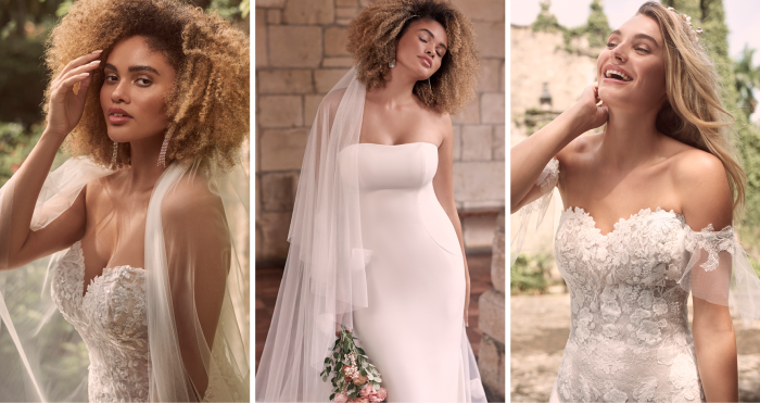 Collage of Brides Wearing Strapless Fit and Flare Wedding Dresses by Maggie Sottero