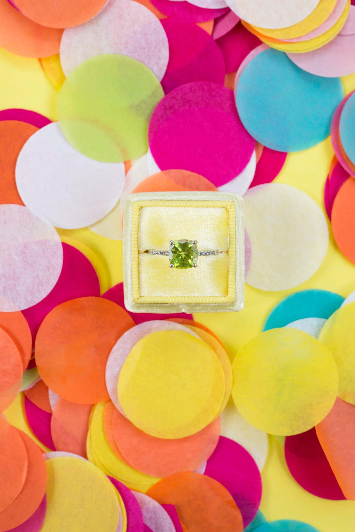 Punchy Citrus and Confetti-Themed Styled Shoot Featuring Blaire by Sottero & Midgley.