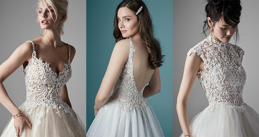 Collage of Models Wearing Princess Ball Gown Wedding Dresses by Maggie Sottero