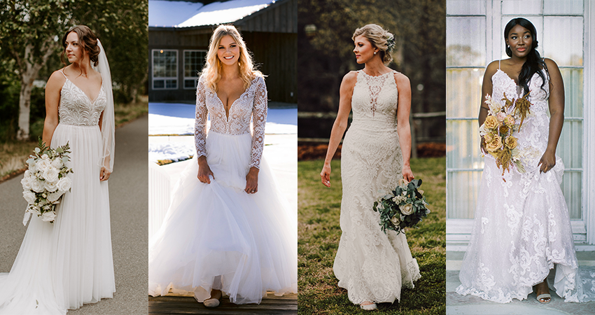 Collage of Real Brides Wearing Quick Delivery Wedding Dresses by Maggie Sottero