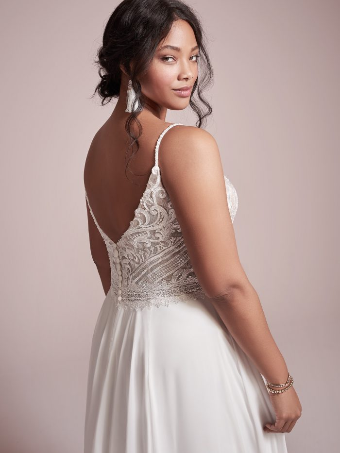 Plus Size Model Wearing Affordable Beach Wedding Dress Called Lorraine by Rebecca Ingram