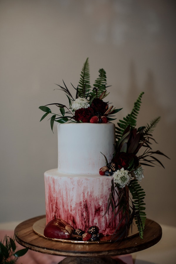 Rustic Fall Wedding Cake Featuring Berry Tones
