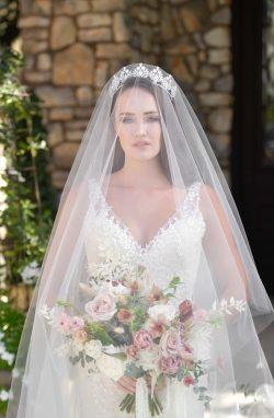 Bride Wearing Blusher Veil and Rebecca Ingram Wedding Dress Called Elora