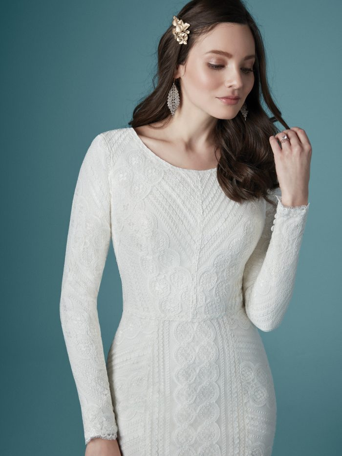 Geometric Lace Modest Wedding Dress Called Geraldine Leigh by Maggie Sottero