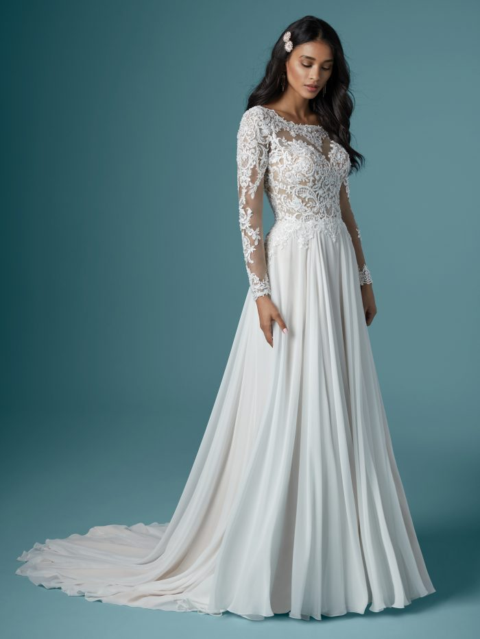Long Sleeve Lace A-line Wedding Gown called Madilyn by Maggie Sottero